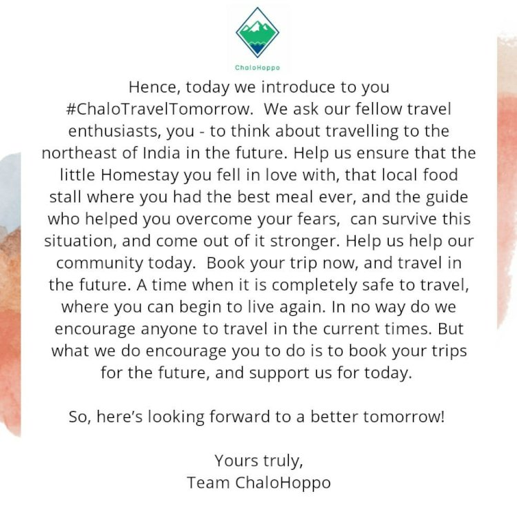 #ChaloTravelTomorrow: Travel Northeast India Tomorrow, Support Today!